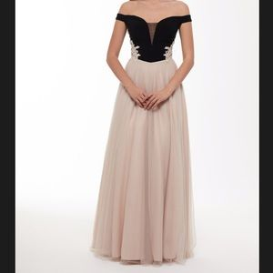 Black and cream colored Prom Dress